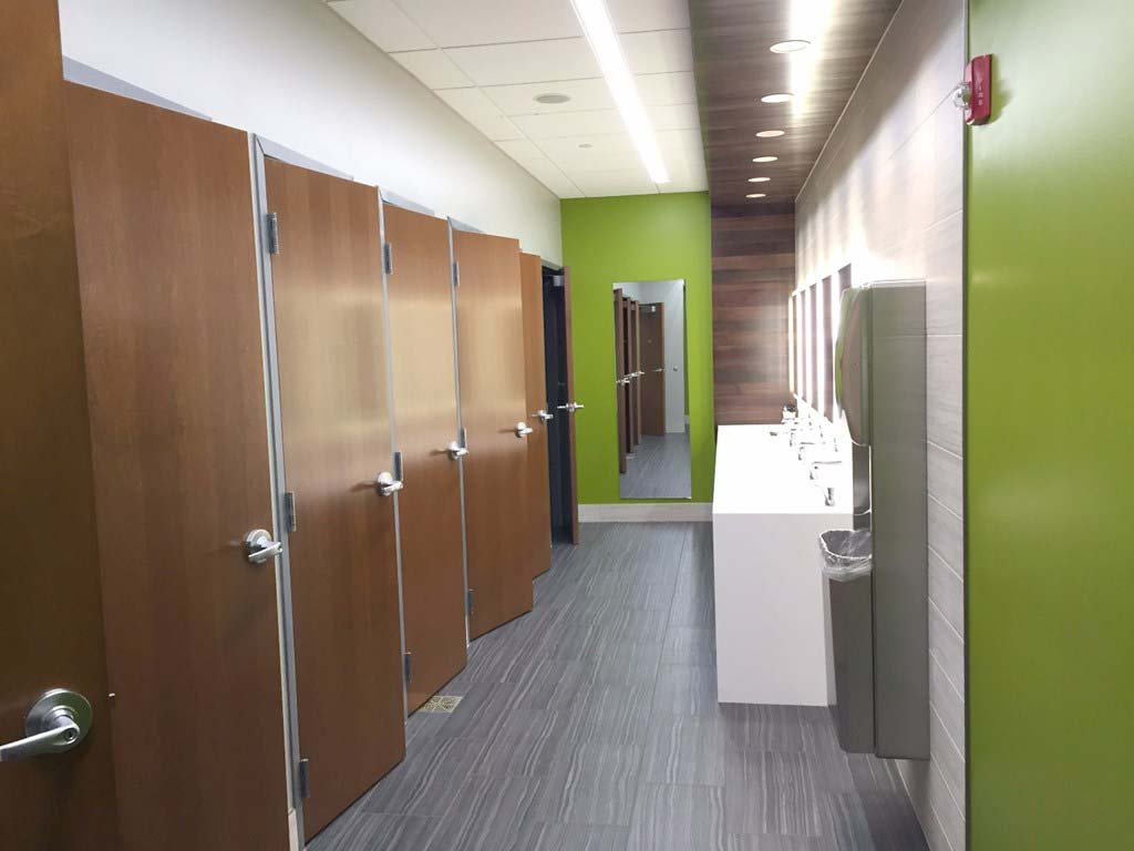 Festival Foods stylized private bathroom stalls supplied by Green Bay-based manufacturer and supplier LaForce Inc.