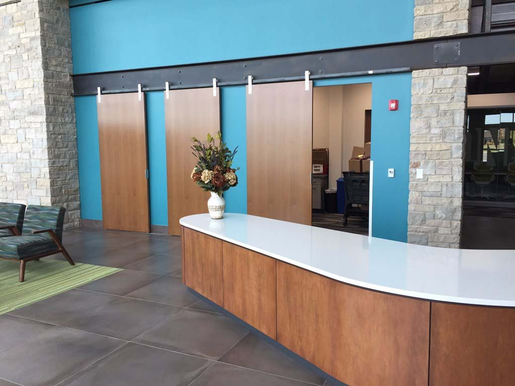 Festival Foods front entrance, custom sliding doors supplied by LaForce Inc.