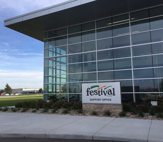 Festival Foods Support Office front sign and all glass windowed office building